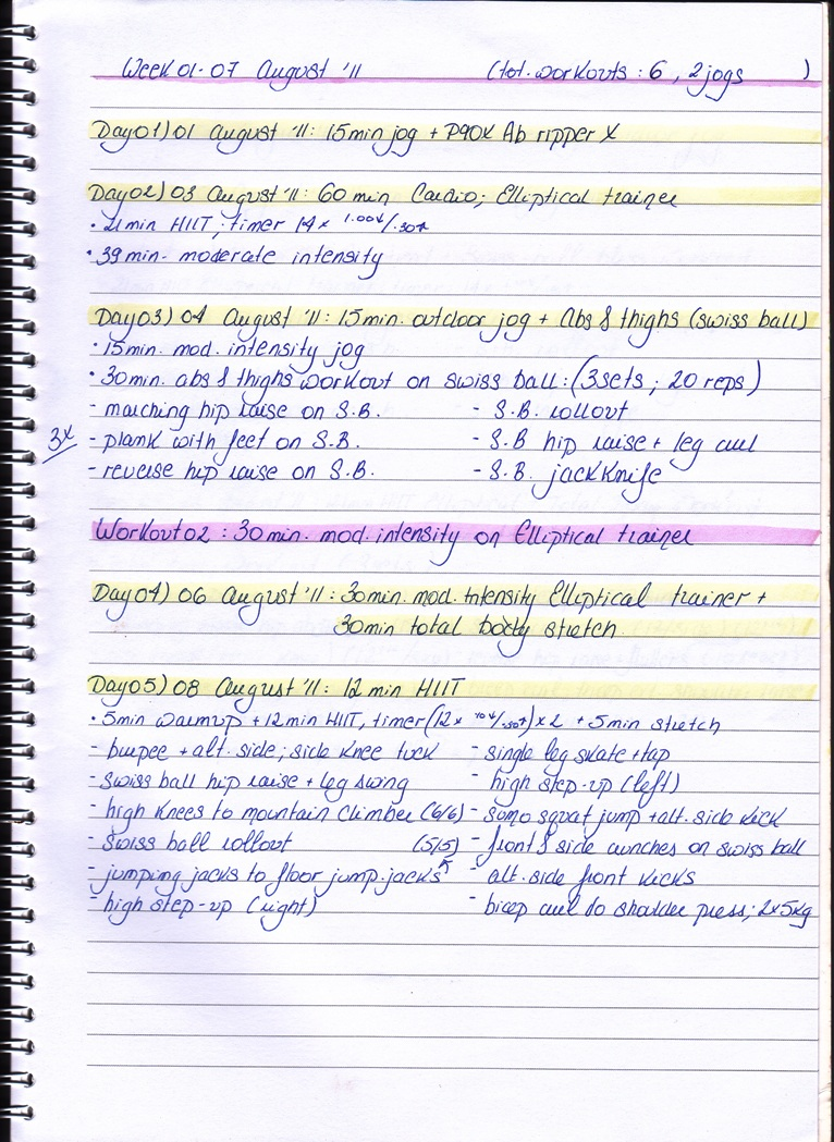 Workout Log: week 01-07 August '11