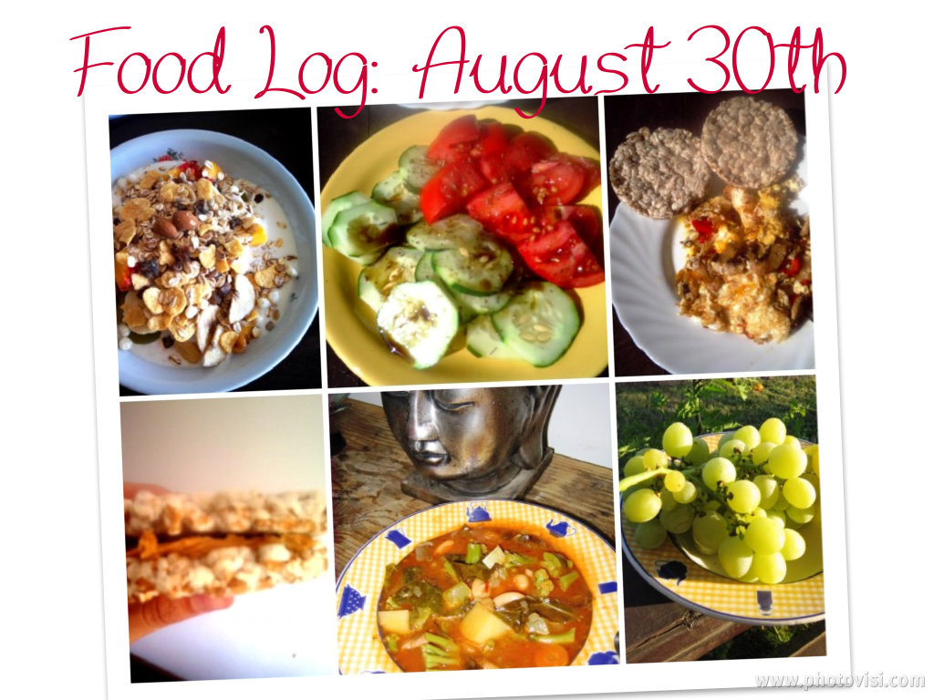 clean diet food log, august 30